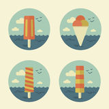 Summer icons retro Royalty Free Stock Image
