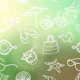 Summer icons seamless line pattern. Doodle style. Blured backgro Stock Photo
