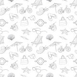 Summer icons seamless line pattern. Doodle style Royalty Free Stock Photo