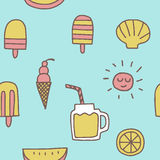 Summer icons seamless pattern  background Royalty Free Stock Photo