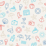 Summer Icons Seamless Pattern Stock Images