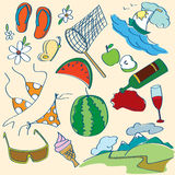 Summer icons set. (vector illustration royalty free illustration
