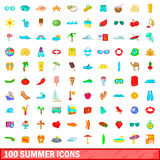 100 summer icons set, cartoon style. 100 summer icons set in cartoon style for any design vector illustration Stock Image