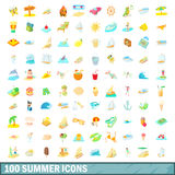 100 summer icons set, cartoon style. 100 summer icons set in cartoon style for any design vector illustration Royalty Free Stock Photos
