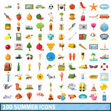 100 summer icons set, cartoon style. 100 summer icons set in cartoon style for any design vector illustration Royalty Free Stock Image