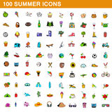 100 summer icons set, cartoon style. 100 summer icons set in cartoon style for any design vector illustration Royalty Free Stock Photography