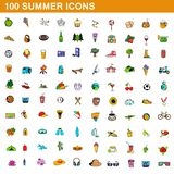 100 summer icons set, cartoon style. 100 summer icons set in cartoon style for any design illustration stock illustration
