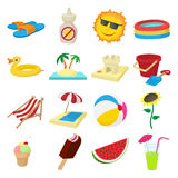Summer icons set, cartoon style. Summer icons set in cartoon style on a white background Stock Photo