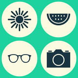 Summer Icons Set. Collection Of Sunny, Melon, Spectacles And Other Elements. Also Includes Symbols Such As Citrus Royalty Free Stock Photography