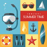 Summer icons set 1. Set of colored flat summer icons num.1 on marine and sports themes Stock Photos