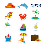 Summer icons. Set of different summer icons on a white background Royalty Free Stock Image