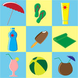 Summer Icons Set. Doodle Vector Illustration Royalty Free Stock Photos