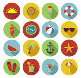 Summer icons set in flat design Royalty Free Stock Image