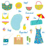 Summer icons set, funny design - for vacations, travel Stock Images