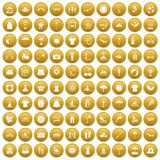 100 summer icons set gold. 100 summer icons set in gold circle isolated on white vector illustration stock illustration
