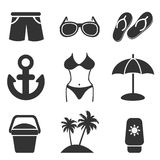 Summer icons set great for any use. Vector EPS10. Stock Image