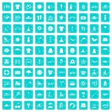 100 summer icons set grunge blue. 100 summer icons set in grunge style blue color isolated on white background vector illustration Royalty Free Stock Photo