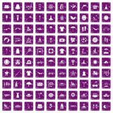 100 summer icons set grunge purple. 100 summer icons set in grunge style purple color isolated on white background vector illustration Royalty Free Stock Photos