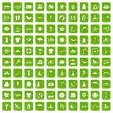 100 summer icons set grunge green. 100 summer icons set in grunge style green color isolated on white background vector illustration Stock Illustration