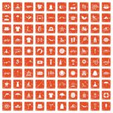 100 summer icons set grunge orange. 100 summer icons set in grunge style orange color isolated on white background vector illustration stock illustration