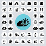 Summer icons set. Royalty Free Stock Photo