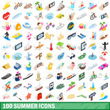 100 summer icons set, isometric 3d style. 100 summer icons set in isometric 3d style for any design vector illustration Stock Image