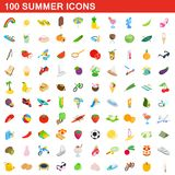 100 summer icons set, isometric 3d style. 100 summer icons set in isometric 3d style for any design illustration stock illustration
