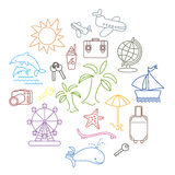 Summer icons 3. A set of multi-colored planar linear icons on the theme of travel, beach holidays Royalty Free Stock Images