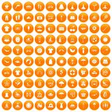 100 summer icons set orange. 100 summer icons set in orange circle isolated on white vector illustration royalty free illustration