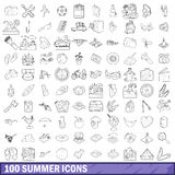 100 summer icons set, outline style Royalty Free Stock Image