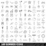 100 summer  icons set, outline style Royalty Free Stock Photo