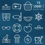 Summer icons set. Pixel perfect vector outline icons. Vol. 2 Stock Photography