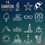 Summer icons set. Pixel perfect vector outline icons. Set of 15 pixel perfect outline vector summer icons Royalty Free Stock Photo