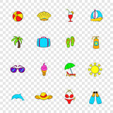 Summer icons set, pop-art style. Summer icons set in pop-art style with transparency for design Stock Photos