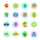 Summer icons set, pop-art style. Summer icons set in pop-art style on a white background Stock Photography