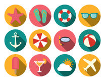 Summer icons. A set of round, flat, long shadow, summer icons Royalty Free Stock Images