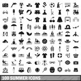 100 summer icons set in simple style Royalty Free Stock Images