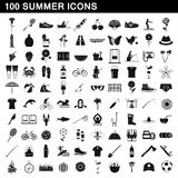 100 summer icons set, simple style. 100 summer icons set in simple style for any design vector illustration Stock Images