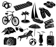 Summer icons set, simple style Royalty Free Stock Photos