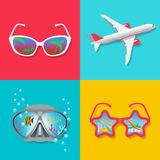 Summer icons. Set summer icons on a theme of rest. Diving, travel, vacation Royalty Free Stock Images