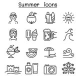 Summer icons set in thin line style vector illustration