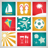 Summer icons set. Vector illustration Royalty Free Stock Photography
