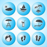 Summer icons set Stock Images
