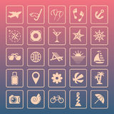 Summer icons. Set of summer icons. Vector illustration Royalty Free Stock Photos