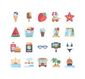 20  summer icons set. Vector illustration. ice cream, strawberry, glasses, swimsuit, beach shorts, island, surfboards, plane. 20  summer icons set. Vector Royalty Free Stock Photo