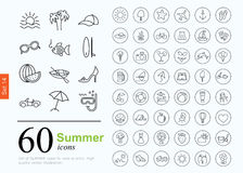 60 summer icons. Set of summer icons for web or services. 60 design line icons high quality, vector illustration Royalty Free Stock Photo