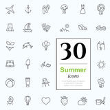 30 summer icons. Set of summer icons for web or services. 30 design line icons high quality, vector illustration Royalty Free Stock Photo