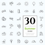 30 summer icons. Set of summer icons for web or services. 30 design line icons high quality, vector illustration Stock Photography