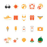 Summer Icons Set with White Background Stock Photography