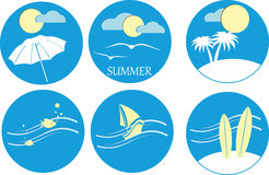 Summer icons. Six icons of blue symbolizing summer Stock Photos